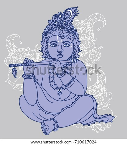 Little Krishna with the flute, can be used as greeting card for Krishna birthday, blue colors, vector illustration #710617024