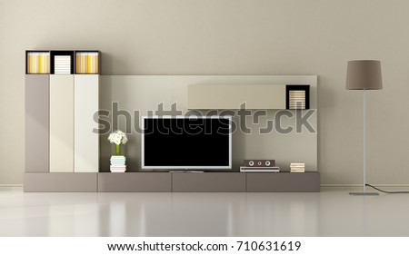 Minimalist living room with tv unit and floor lamp - 3d rendering #710631619