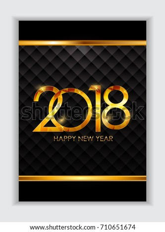 2018 New Year Gold Glossy Background.  Illustration  #710651674