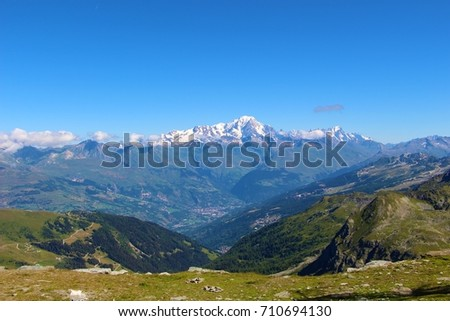 View of the Mont Blanc (Monte Bianco, White Mountain), seen from La Plagne, in the Alps, France #710694130