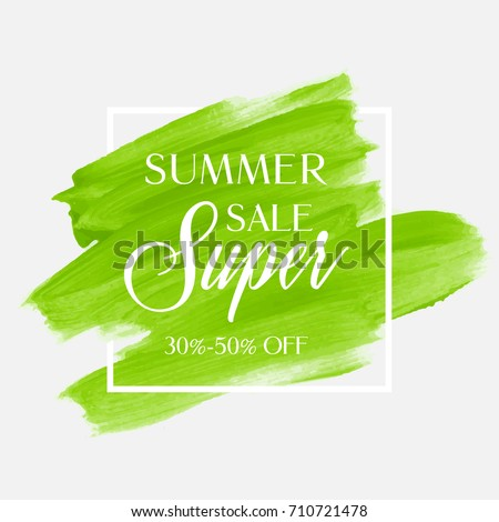 Summer Sale 30-50% off sign over watercolor art brush stroke paint abstract background vector illustration. Perfect acrylic design for a shop and sale banners. #710721478