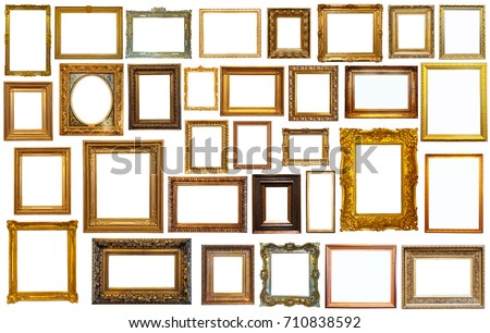 Set of isolated art empty frames in golden and silvery color