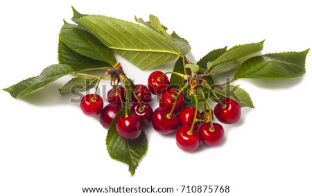 red cherry with green leaves on a white background #710875768