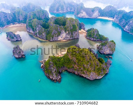 Cat Ba island from above. Lan Ha bay. Hai phong, Vietnam #710904682