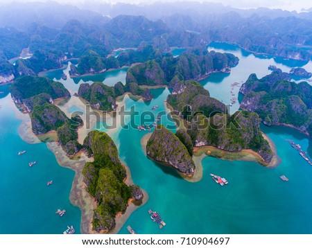 Cat Ba island from above. Lan Ha bay. Hai phong, Vietnam Royalty-Free Stock Photo #710904697
