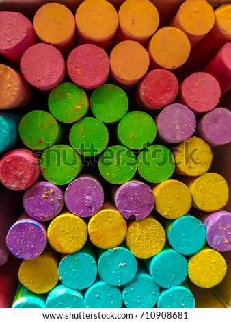 colorful chalk in the box #710908681