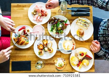 Breakfast Buffet Concept, Breakfast Time in Luxury Hotel, Brunch with Family in Restaurant #710921581