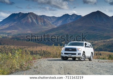 GLENN HWY, AK/USA - AUGUST 28, 2017: Overlanding with Toyota Sequoia #711163219
