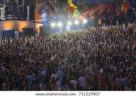 Cluj-Napoca, Romania - August 4, 2017:  Crowd having fun at Vama, a Romanian soft rock band, live concert at Untold Festival, the Best Major Music Festival of Europe #711229807