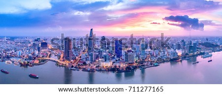 Royalty high quality free stock image aerial view of boats in river side ho chi minh, Vietnam. The biggest city in Vietnam, Vietnam. Boats in river side ho chi minh