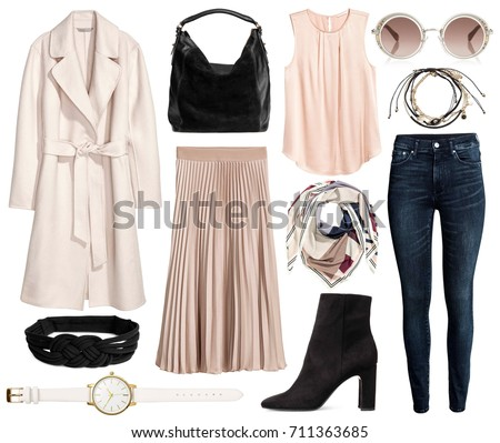 A set of fashionable clothes and accessories on a white background #711363685