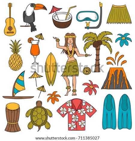 illustration with cartoon hand drawn hawaii icons. Tropical island summer travel. Beach life, relaxation, palm, Hawaii tourism.  hand drawn cartoon vacation icons