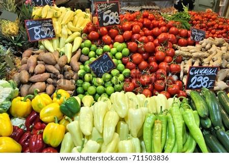 Food market in Budapest, Hungary (Great Market Hall). Fresh produce marketplace. #711503836