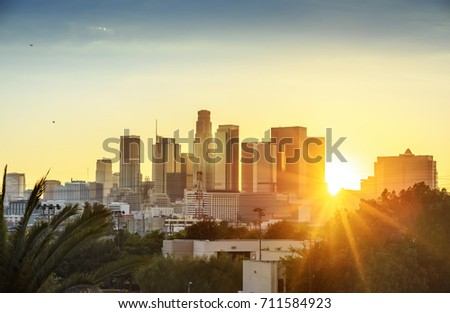 Los Angeles, California, USA downtown cityscape at sunset #711584923