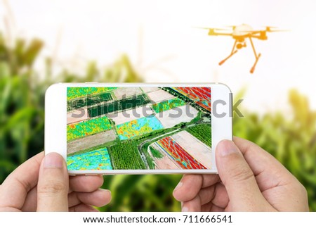 Smart agriculture , farm , precision farming concept. Drone and NIR images processing application screen used to create field health maps for normalize difference vegetation index in field.