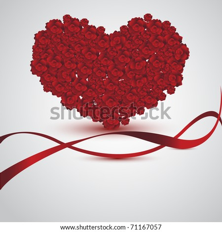 Greeting card with rose heart