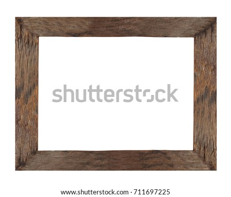 Wooden picture frame use for texts or products display isolated on white background