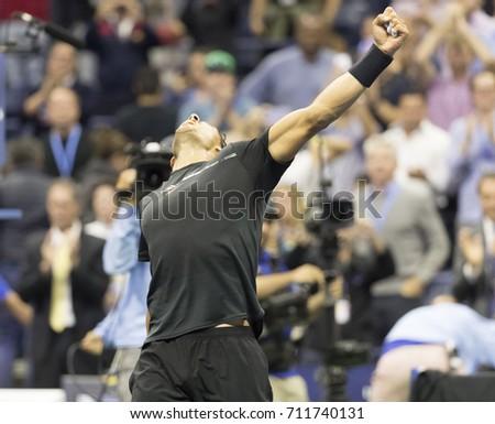 New York, NY USA - September 8, 2017: Rafael Nadal of Spain celebrates victory against Juan Martin del Potro of Argentina at US Open Championships at Billie Jean King National Tennis Center #711740131