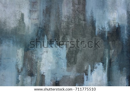 Close up photograph of a hand painted, grungy, abstract painting on paper. Shades of blue, grey, and white. Large contemporary, textured background. #711775510