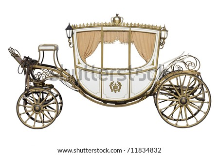 vintage carriage isolated on white background Royalty-Free Stock Photo #711834832