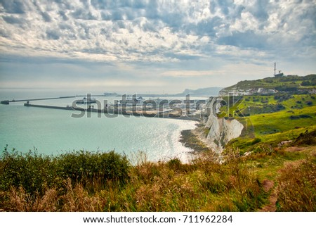 View of the English channel as seen from above the White cliffs of Dover. The port is the Port of Dover. #711962284