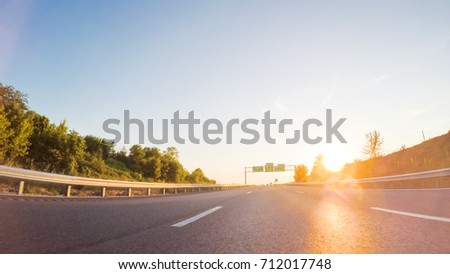 POV point of view - Driving West on Interstate highway 70 through Missouri. #712017748