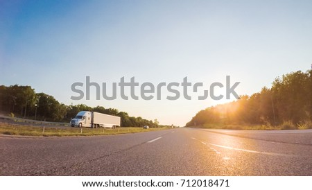 POV point of view - Driving West on Interstate highway 70 through Kansas. #712018471