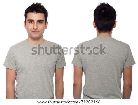 front and back of a young casual man wearing t-shirt isolated on white background #71202166