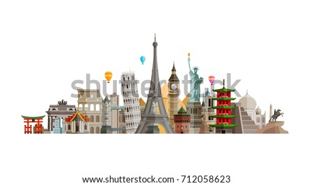 Sights countries of world. Journey, travel concept. Vector illustration #712058623