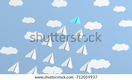 Leadership concept, blue leader plane leading whites. 3D Rendering #712059937