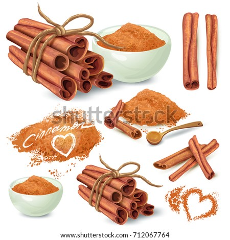 Set of cinnamon sticks and ground on powder cinnamon in ceramic bowl and scattered around hand drawn vector isolated on white background. Sweet spicy seasoning illustration for recipes, menus design Royalty-Free Stock Photo #712067764