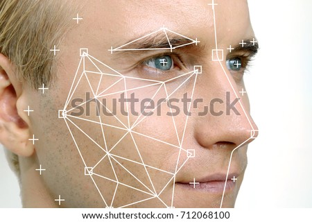 Machine learning systems technology , accurate facial recognition biometric technology and artificial intelligence concept. Man face and dots connect on face. #712068100