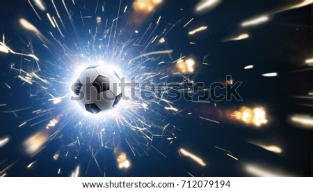 Soccer. Soccer ball. Soccer background with fire sparks in action on the black