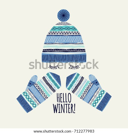 Template greeting card and invitation. Hello winter. Freehand drawing. Can be used for scrapbook, banner, print, etc. Royalty-Free Stock Photo #712277983