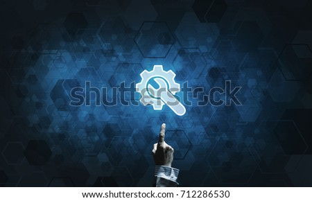 Close of human hand touching with finger setting glowing icon #712286530