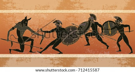 Ancient Greece banner. Black figure pottery. Hunting for a Minotaur, gods, fighter. Classical Ancient Greek style #712415587