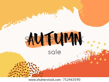 Abstract autumn design with colorful brush strokes in yellow, red, brown and orange on white background. Modern and creative poster, brochure, greeting card template.