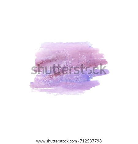Abstract watercolor hand drawn stain. Watercolor design element. Watercolor purple background.  #712537798