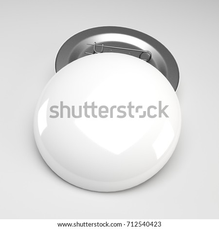3d rendering. Empty clear pin emblem mock up.Blank white button badge mockup, front and back side,