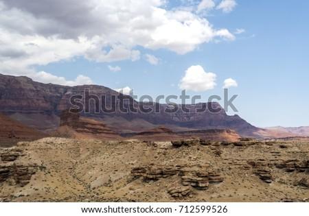 View from Navajo Bridge, Marble Canyon Hwy 89 between Bitter Springs and Page, summer 2017 - Arizona, AZ, USA #712599526