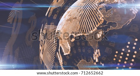 Secure global financial network blockchain crypto currencies bitcoin ethereum  Royalty-Free Stock Photo #712652662