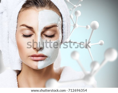 Woman with mask on face in big molecules chain #712696354