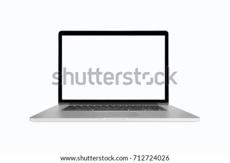 Laptop computer, monitor and black keyboard. Gray body on white background with clipping path. #712724026