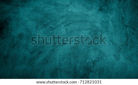 Beautiful Abstract Grunge Decorative Turquoise Dark Wall Background. Art Rough Stylized Texture Web Banner With Space For Text. Textured Background with bright center spotlight Royalty-Free Stock Photo #712821031