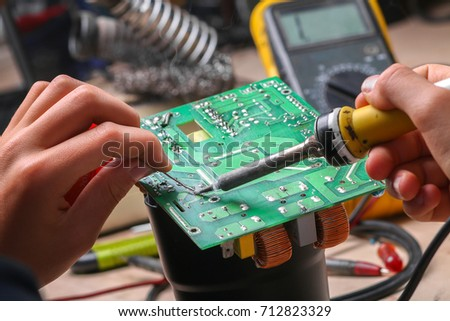 Repair of electronic devices, tin soldering parts #712823329