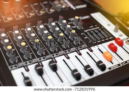 Closeup of an audio sound mixer. #712831996