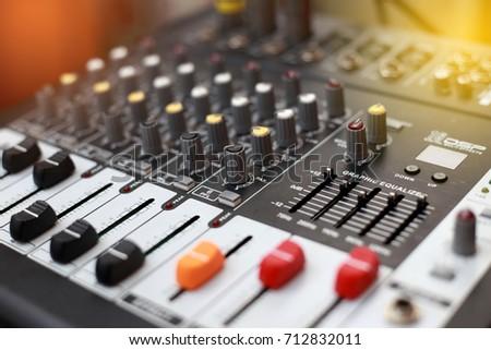 Closeup of an audio sound mixer. #712832011