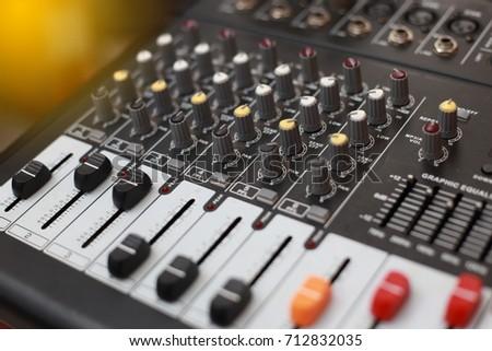 Closeup of an audio sound mixer. #712832035