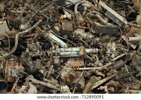 Pile of metal scrap of machine part #712890091