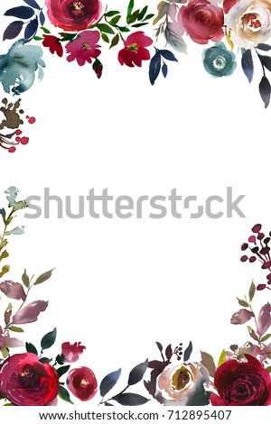 Burgundy Marsala Navy Blue Watercolor Peony Roses Floral Bouquet  Feathers Isolated on White Background